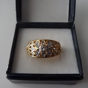 Gold Plated CZ Diamond Ring - Size 8